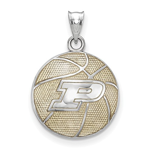 FB Jewels Solid 925 Sterling Silver Purdue University Enameled Basketball Pendant