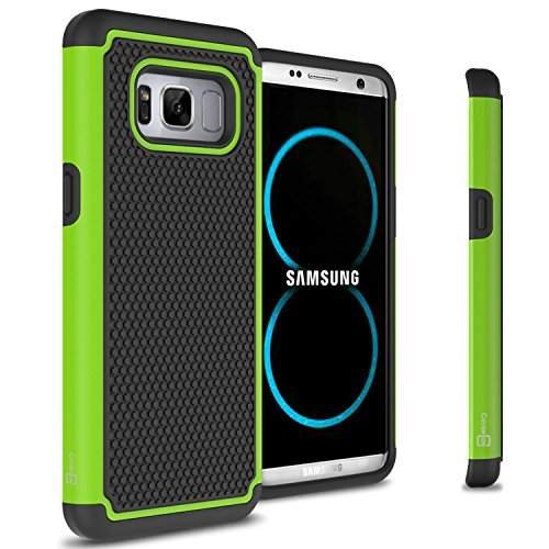 CoverON HexaGuard Series for Galaxy S8 Plus Case, Tough Protective Dual Layer Hybrid Phone Cover – Green on Black