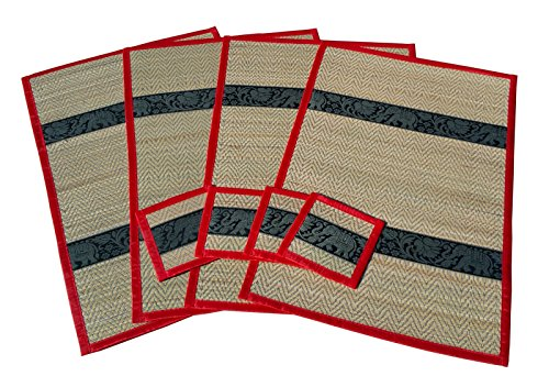 Reed and Silk Placemats And Coasters Handmade In Thailand (Set of 4) Large Size Elephant Motif (Red) by Nit's Thai Style