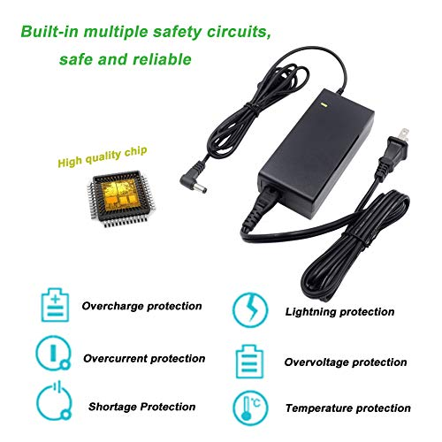 TKDY 24V 2.5A AC DC Power Adapter UL Listed Upgraded Version, Compatible 24Volt 2A 1.5A 1A for LED Strip, Router, Security Camera with 11 PCS Replacement 5.5 x 2.5 mm DC Jack Connectors.