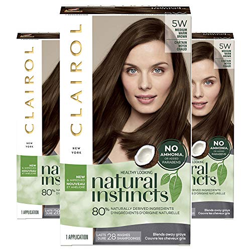 Clairol Natural Instincts Semi-Permanent Ammonia-Free Hair Color, 5W Medium Warm Brown, Cinnamon Stick, Pack of 3