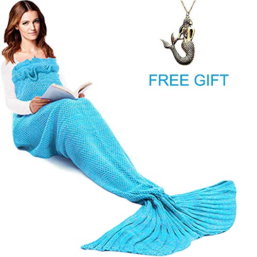 JR.WHITE Mermaid Tail Blanket for Kids and Adults, Hand Crochet Snuggle Mermaid, All Seasons Seatail Sleeping Bag Blanket(Ocean Blue)