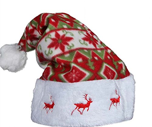 Lovely Cool Christmas Hat Santa Hat with Raindeer Embroidery on the Edge for Kids (Raindeer Hats)