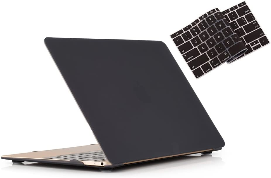 RUBAN MacBook 12 Inch Case Release (A1534) - Slim Snap On Hard Shell Protective Cover and Keyboard Cover for MacBook 12, Black