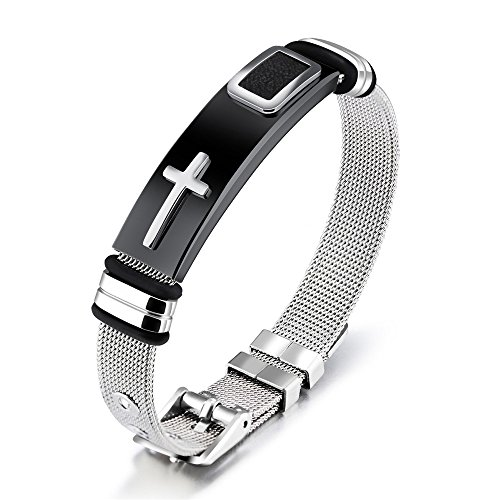 Reizteko Stylish Men's Adjustable Bracelet Cross Stainless Steel Mesh Chain Wrist Band Bracelet (Silver) ()