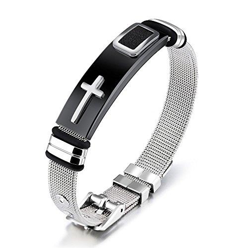 Reizteko Stylish Men's Adjustable Bracelet Cross Stainless Steel Mesh Chain Wrist Band Bracelet (Silver) (Mesh Stainless Steel Bracelet)
