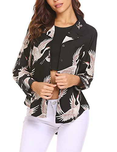 Shirt Tops SoTeer Down Women's Black Low Sleeve High Floral Hem Button Long qtpUpv