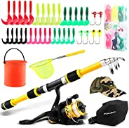 Kids Fishing Pole, Telescopic Fishing Rod Spinning Reel Combos with Fishing Net, Fishing Hat, Foldable Pail Bu