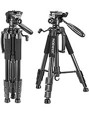 Neewer Treppiedi per Fotocamera Portatile 142cm in Lega di Alluminio con Testa Piatta Girevole in 3 Modi, Borsa di Trasporto per DSLR Fotocamera, Videocamere, Capacità di Carico 4KG,Nero(SAB234)