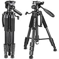 Neewer Portable 56 inches/142 centimeters Aluminum Camera Tripod with 3-Way Swivel Pan Head,Carrying Bag for Canon Nikon Sony DSLR Camera,DV Video Camcorder Load up to 8.8 pounds/4 kilograms (Black)
