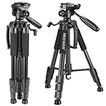 Neewer Portable 56 inches/142 centimeters Aluminum Camera Tripod with 3-Way Swivel Pan Head,Bag for DSLR Camera,DV VideoCamcorder Load up to 8.8 pounds/4 kilograms Blue(SAB234)