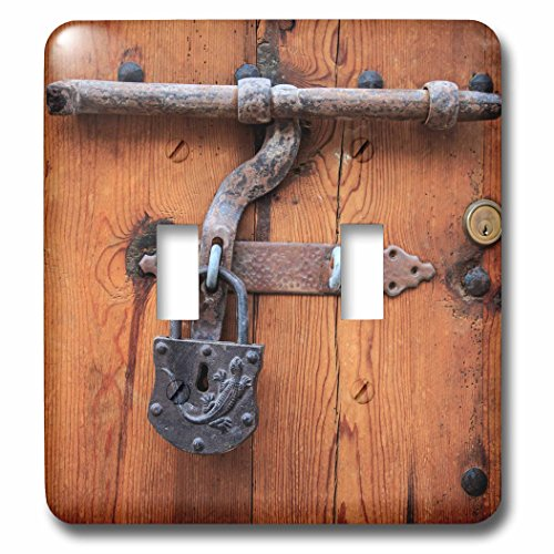 3dRose Danita Delimont - Architecture - Spain, Balearic Islands, Mallorca, door bolt and lock. - Light Switch Covers - double toggle switch (lsp_277913_2) by 3dRose