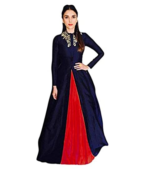 e996a24be6ff3f Dresses Creation Women's Silk Kurti with Embroidered Work Gown (Red, Free  Size)