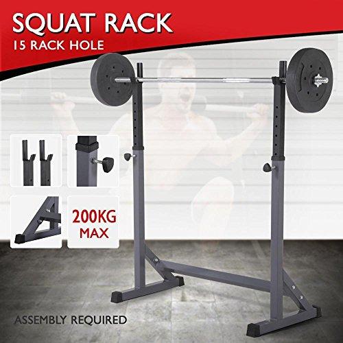Topeakmart 44 5 72 adjustable squat rack dipping station for Squat station