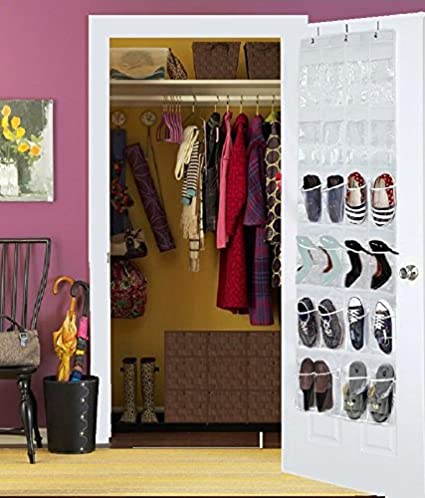 Hoople Over The Door Hanging Shoe Organizer Storage Rack Closet Plastic Men Women Kids Baby Large Best Heavy Duty, 24 Clear Pockets (64.2 x 18.9) (White)