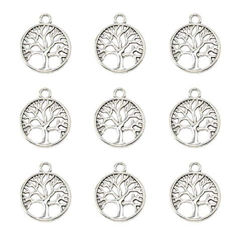 100pcs 20mm Lovely Round Tree of Life Charms Pendants DIY Antique Charms Pendant for Crafting (100pcs tree silver) Antique Silver Tree Pendant