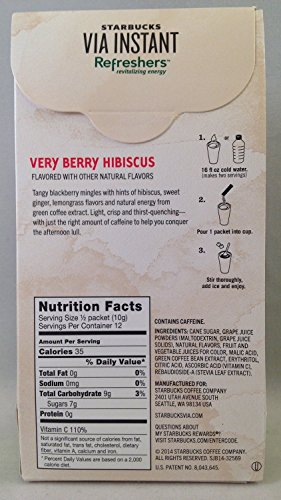 Starbucks Via Instant Refreshers - Very Berry Hibiscus - 6 Packets - (Pack of 12) by Starbucks (Image #1)