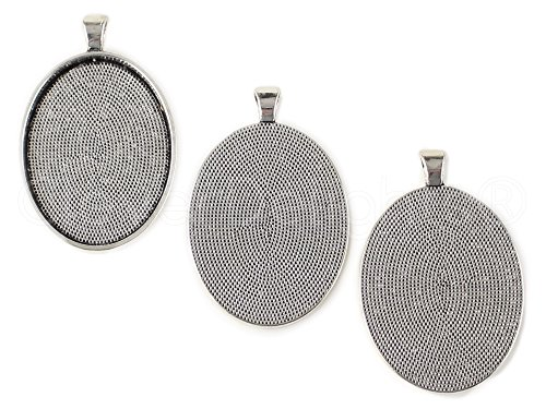 10 CleverDelights Oval Pendant Trays - Antique Silver Color - 30x40mm - Pendant Blanks Settings (Oval Pendant 30x40mm)