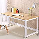 Modern Simple Style Computer Desk PC Laptop Study Table Office Desk Workstation for Home Office, Walnut+White leg 47 inch (47x23.6'', Walnut+White leg)