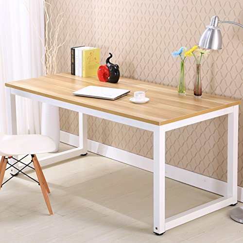 Modern Simple Style Computer Desk PC Laptop Study Table Office Desk Workstation for Home Office, Walnut+White leg 47 inch (47x23.6'', Walnut+White leg) by PMYAME