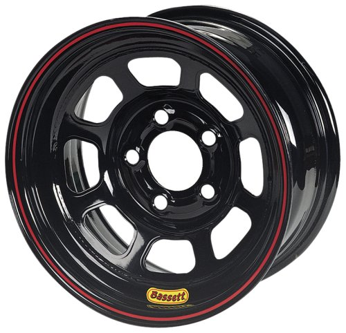 Bassett Wheel D-Hole DOT Black Powder Coat - 15 x 8 Inch Wheel ()
