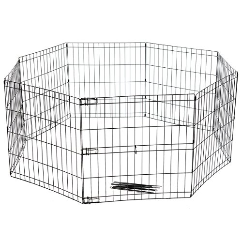 Favorite 8 Panel Dog Playpen Exercise Playpen Pet Kennel, E-Coat Iron Indoor Outdoor (Cage Octagon Shape)