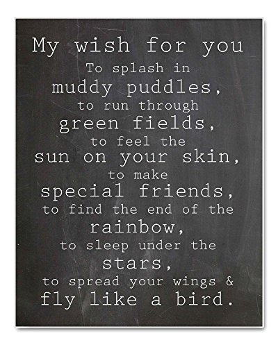 My Wish For You Nursery Art Chalkboard Typography Print Perfect