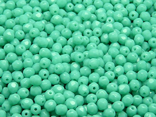 100 Pcs Czech Fire-polished Faceted Glass Beads Round 4mm Opaque Turquoise - Czech 100 Faceted Beads Glass