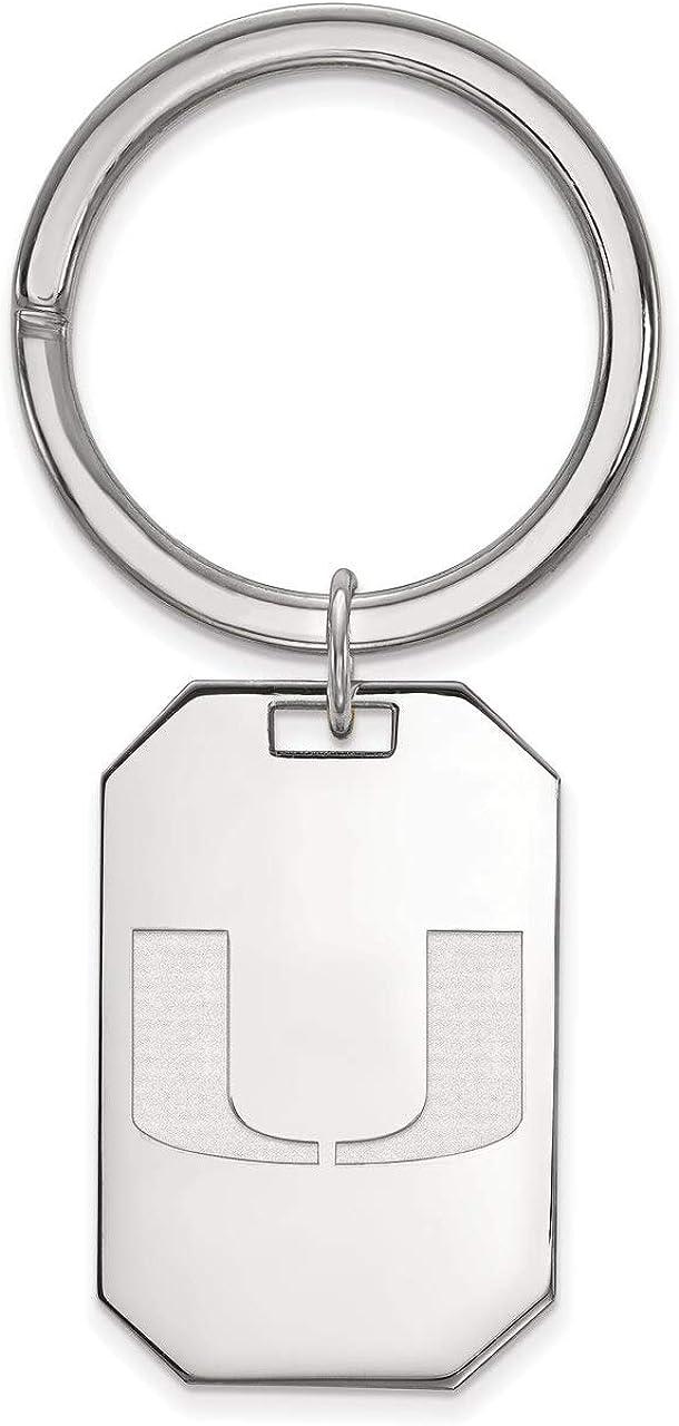Lex /& Lu LogoArt Sterling Silver University of Miami Key Chain