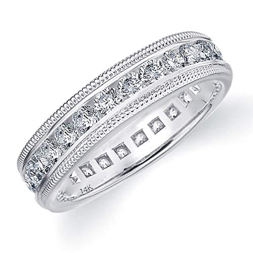 Eternity Wedding Bands 1.50 CTTW Genuine Diamond Eternity Ring in 14K White Gold, Intricate Milgrain 1.5ct Diamond Wedding Ring - Finger Size 7