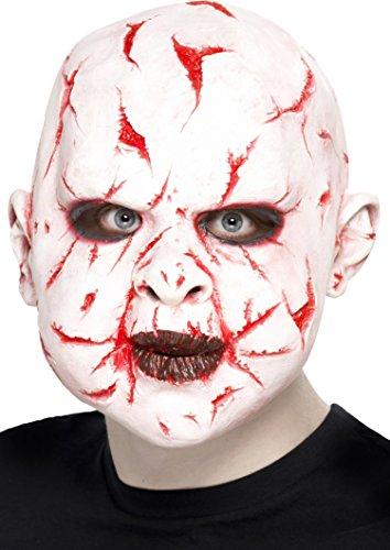 Scarface Mask (Smiffy's Unisex Scar Face Mask, White, One Size, Latex, 27418)