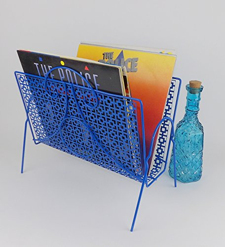 Album Rack Magazine Holder Mid Century Modern Blue