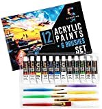 Creative Joy CJAPB01 Acrylic Paint Set & Brushes Vivid Paint Sets Include 6 Brushes-Great for Artists and Hobby Painters…