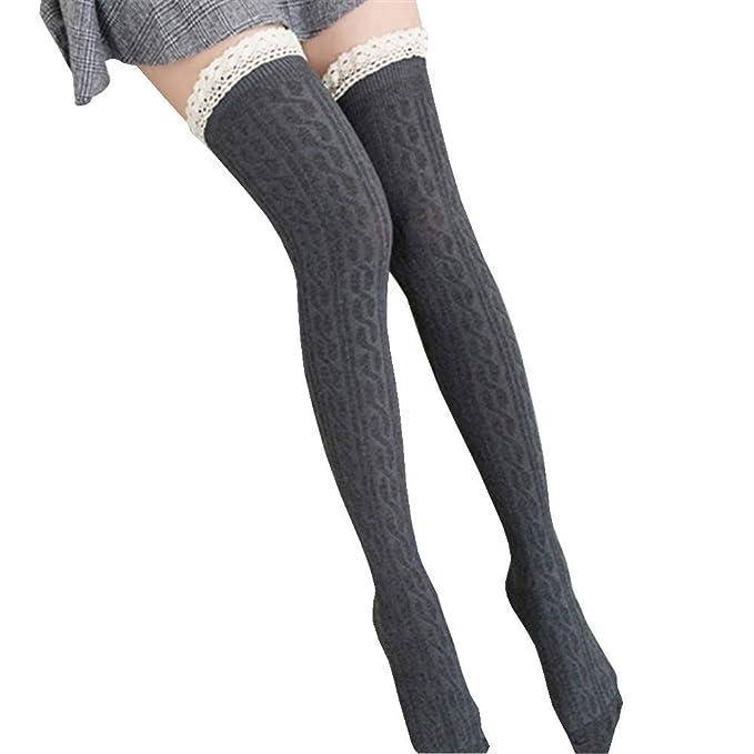 ODJOY-FAN 68cm Frau Spitzenkante Stricken Socken Warm Strumpf Spitze ...
