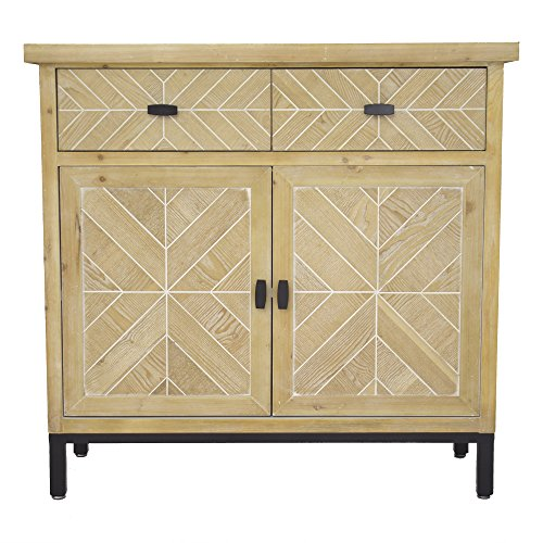 48 Sideboard (Heather Ann Creations W191403-WWP Urban 2-Drawer 2-Door Parquet Sideboard, White Washed)