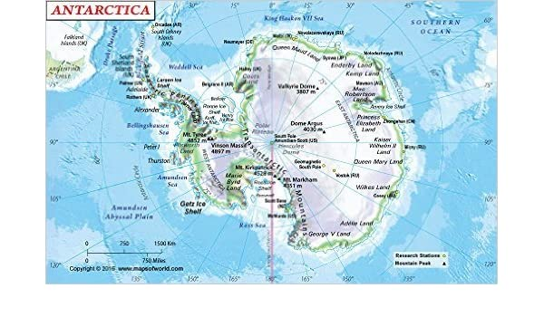 Physical Map Antarctica Amazon.: Antarctica Physical Map (36