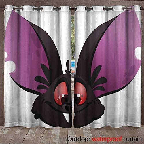 BlountDecor Outdoor Curtain Cartoon bat Head icon Halloween Vector bat Vampire icon Waterproof CurtainW108 x L108 -