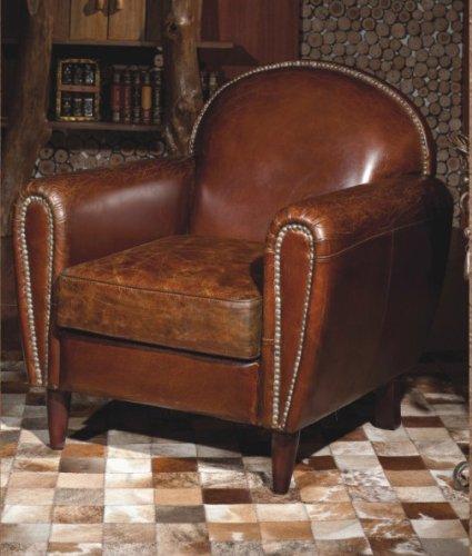 Vera Pelle Vintage Sedia Poltrona in pelle marrone antico design ...