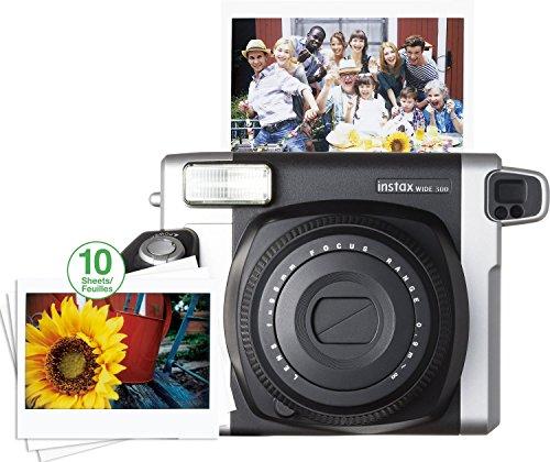 Fujifilm Instax Wide  300 Camera (Black / Silver) W/10 Exposure Film