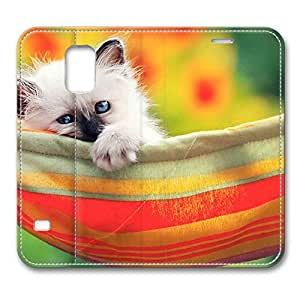 Brain114 Fashion Style Case Design Flip Folio PU Leather Cover Standup Cover Case with Cute Kitty 2 Pattern Skin for Samsung Galaxy S5 I9600