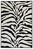 Anti-Bacterial Rubber Back AREA RUGS Non-Skid/Slip 5x7 Floor Rug | Black & Snow White Zebra Print Indoor/Outdoor Thin Low Profile Living Room Kitchen Hallways Home Decorative Traditional Area Rug