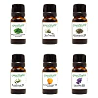 Top 6 100% Pure Therapeutic Grade Essential Oil Gift Set - 6/10ml (Lavender, Tea Tree, Eucalyptus, Lemongrass, Sweet Orange, Peppermint) Great for Aromatherapy.