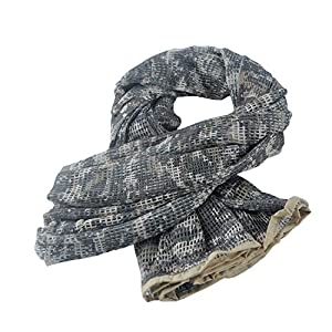 Wildoor Tactical Mesh Net Military Scarf Ghillie Sniper Veil Srim Net Cover Shemagh Head Face Wrap Multifunctional Army KeffIyeh for Airsoft Hunting Shooting 190cm x 90cm Camouflage Printed