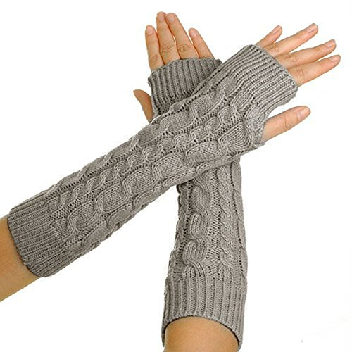Warm Christmas Gift (Eforcase Women Lady Girl Knitted Crochet Long Soft gloves Winter Warmer Braided Arm Fingerless Gloves Stretchy Wamer Knitting Thumb Hole Gloves Mittens Winter Hand Warmer Great gift for Xmas(Light Grey))