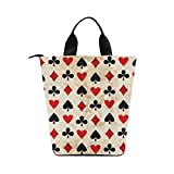 InterestPrint Vintage Playing Cards Pattern Nylon Cylinder Lunch Bag Tote Shopping Handbag, Retro Poker Game Reusable Large Lunchbox Grocery Bag