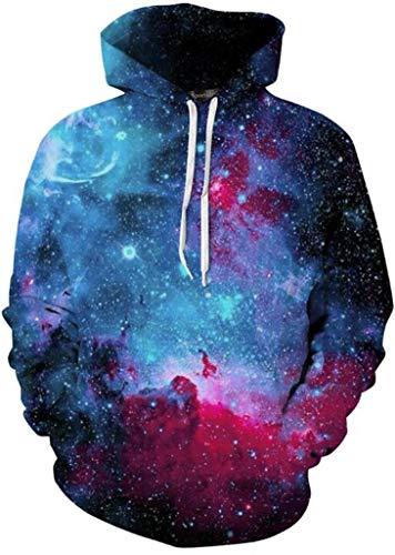 Sportides Unisex Boy Girl Realistic 3D Digital Print Pullover Hoodie Hooded Fleece Sweatshirt LYM004_Blue_L/XL ()
