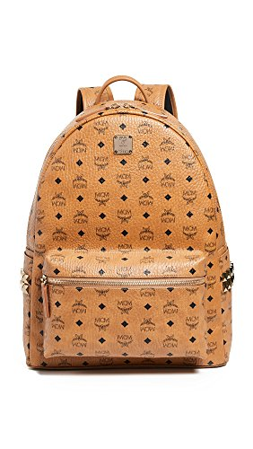 MCM Men's Stark Large Side Stud Backpack, Cognac, Tan, Print, One Size