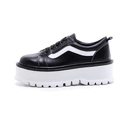 HNShoes Mujer Señoras Mocasines Casual Oficina Trabajo Colegio Mocasín Zapatos de Cordones Negro Blanco Resorte Otoño