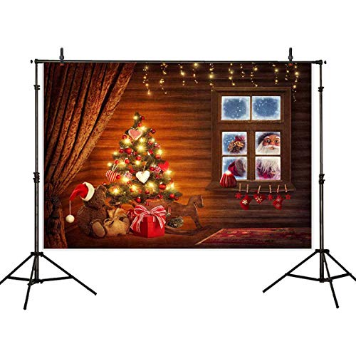 Allenjoy 7x5ft Christmas Tree Photography Backdrop Background Santa Claus Window Decoration Studio Photo Booth Prop for Newborn Baby Shower Kids
