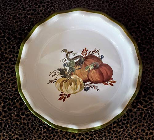 Pumpkin Pie Plate | Measures 9 Inch Inside | 10.25 Overall | 2.25 Inches Deep | Ceramic Pie Plate